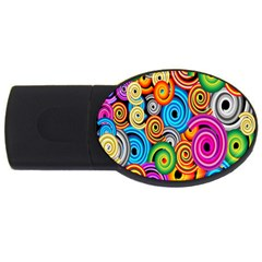 Circle Round Hole Rainbow Usb Flash Drive Oval (2 Gb) by Mariart
