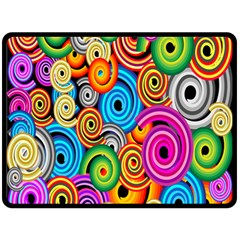 Circle Round Hole Rainbow Fleece Blanket (large)  by Mariart