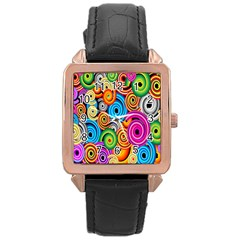 Circle Round Hole Rainbow Rose Gold Leather Watch  by Mariart