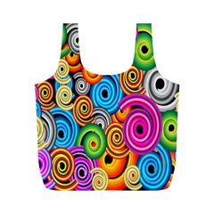 Circle Round Hole Rainbow Full Print Recycle Bags (m)  by Mariart