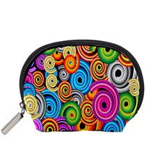 Circle Round Hole Rainbow Accessory Pouches (small)