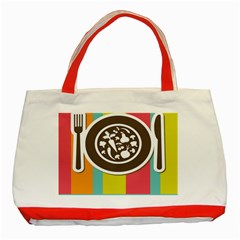 Dinerplate Tablemaner Food Fok Knife Classic Tote Bag (red) by Mariart