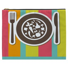 Dinerplate Tablemaner Food Fok Knife Cosmetic Bag (xxxl)  by Mariart