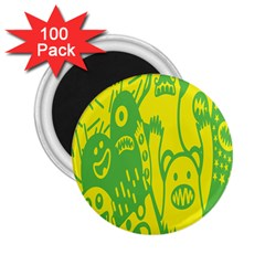Easter Monster Sinister Happy Green Yellow Magic Rock 2 25  Magnets (100 Pack)  by Mariart