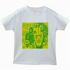 Easter Monster Sinister Happy Green Yellow Magic Rock Kids White T Shirts by Mariart