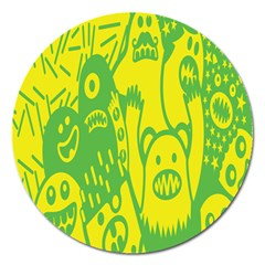 Easter Monster Sinister Happy Green Yellow Magic Rock Magnet 5  (round)