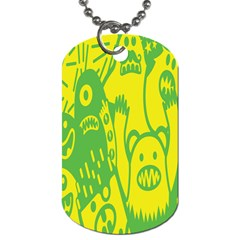Easter Monster Sinister Happy Green Yellow Magic Rock Dog Tag (two Sides) by Mariart