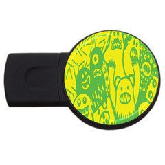 Easter Monster Sinister Happy Green Yellow Magic Rock Usb Flash Drive Round (4 Gb)