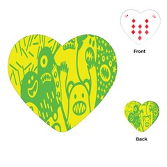 Easter Monster Sinister Happy Green Yellow Magic Rock Playing Cards (heart)  by Mariart