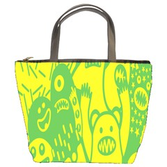 Easter Monster Sinister Happy Green Yellow Magic Rock Bucket Bags by Mariart