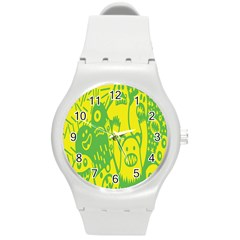 Easter Monster Sinister Happy Green Yellow Magic Rock Round Plastic Sport Watch (m) by Mariart