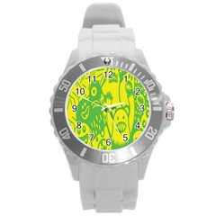 Easter Monster Sinister Happy Green Yellow Magic Rock Round Plastic Sport Watch (l) by Mariart