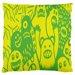 Easter Monster Sinister Happy Green Yellow Magic Rock Large Flano Cushion Case (one Side) by Mariart
