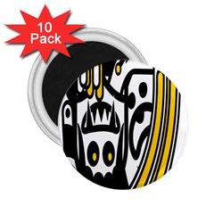 Easter Monster Sinister Happy Magic Rock Mask Face Polka Yellow 2 25  Magnets (10 Pack)