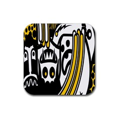 Easter Monster Sinister Happy Magic Rock Mask Face Polka Yellow Rubber Square Coaster (4 Pack)