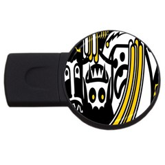 Easter Monster Sinister Happy Magic Rock Mask Face Polka Yellow Usb Flash Drive Round (4 Gb) by Mariart