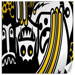 Easter Monster Sinister Happy Magic Rock Mask Face Polka Yellow Canvas 12  X 12   by Mariart