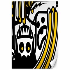Easter Monster Sinister Happy Magic Rock Mask Face Polka Yellow Canvas 12  X 18