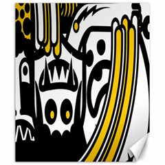 Easter Monster Sinister Happy Magic Rock Mask Face Polka Yellow Canvas 20  X 24   by Mariart