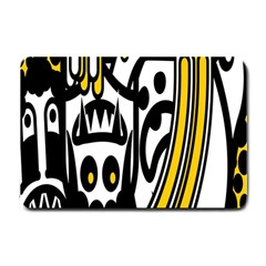 Easter Monster Sinister Happy Magic Rock Mask Face Polka Yellow Small Doormat  by Mariart