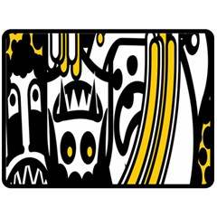 Easter Monster Sinister Happy Magic Rock Mask Face Polka Yellow Fleece Blanket (large)  by Mariart