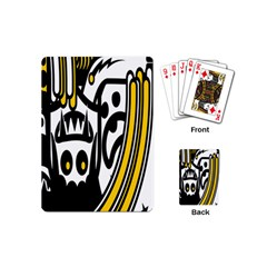 Easter Monster Sinister Happy Magic Rock Mask Face Polka Yellow Playing Cards (mini)  by Mariart