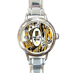 Easter Monster Sinister Happy Magic Rock Mask Face Yellow Magic Rock Round Italian Charm Watch by Mariart
