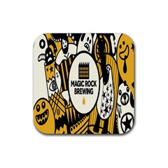 Easter Monster Sinister Happy Magic Rock Mask Face Yellow Magic Rock Rubber Square Coaster (4 Pack)  by Mariart