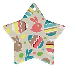 Easter Rabbit Bunny Rainbow Ornament (star) by Mariart