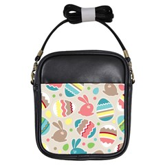 Easter Rabbit Bunny Rainbow Girls Sling Bags by Mariart
