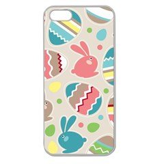 Easter Rabbit Bunny Rainbow Apple Seamless Iphone 5 Case (clear) by Mariart