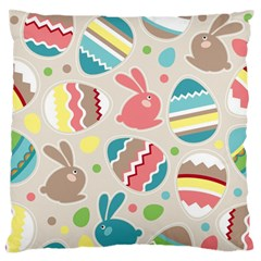 Easter Rabbit Bunny Rainbow Large Flano Cushion Case (two Sides) by Mariart
