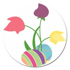 Eggs Three Tulips Flower Floral Rainbow Magnet 5  (round) by Mariart