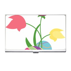 Eggs Three Tulips Flower Floral Rainbow Business Card Holders by Mariart
