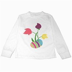 Eggs Three Tulips Flower Floral Rainbow Kids Long Sleeve T Shirts by Mariart