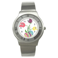 Eggs Three Tulips Flower Floral Rainbow Stainless Steel Watch by Mariart