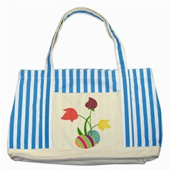 Eggs Three Tulips Flower Floral Rainbow Striped Blue Tote Bag by Mariart