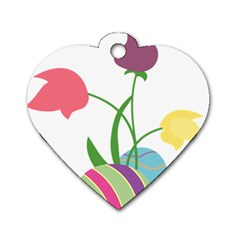 Eggs Three Tulips Flower Floral Rainbow Dog Tag Heart (one Side) by Mariart