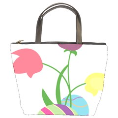 Eggs Three Tulips Flower Floral Rainbow Bucket Bags by Mariart