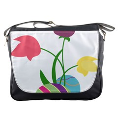 Eggs Three Tulips Flower Floral Rainbow Messenger Bags by Mariart