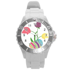 Eggs Three Tulips Flower Floral Rainbow Round Plastic Sport Watch (l) by Mariart