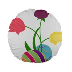 Eggs Three Tulips Flower Floral Rainbow Standard 15  Premium Round Cushions