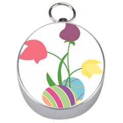 Eggs Three Tulips Flower Floral Rainbow Silver Compasses by Mariart