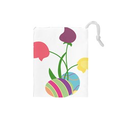 Eggs Three Tulips Flower Floral Rainbow Drawstring Pouches (small)  by Mariart