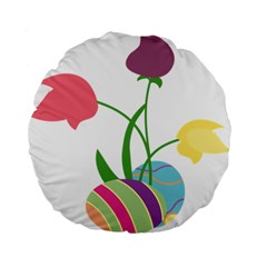 Eggs Three Tulips Flower Floral Rainbow Standard 15  Premium Flano Round Cushions by Mariart