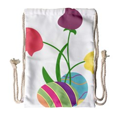 Eggs Three Tulips Flower Floral Rainbow Drawstring Bag (large) by Mariart