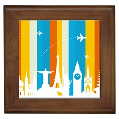 Eiffel Tower Monument Statue Of Liberty Framed Tiles by Mariart