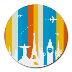 Eiffel Tower Monument Statue Of Liberty Round Mousepads by Mariart