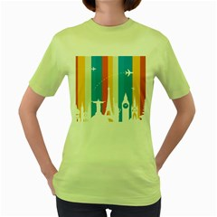 Eiffel Tower Monument Statue Of Liberty Women s Green T Shirt