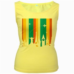 Eiffel Tower Monument Statue Of Liberty Women s Yellow Tank Top